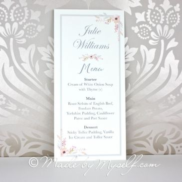 Floral Circle Menu Place Card